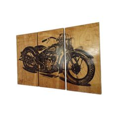Xl Vintage Motorcycle Screen Print Wood Painting Wall Art Bike Home... ($244) ❤ liked on Polyvore featuring home, home decor, wall art, grey, home & living, home décor, wall décor, vintage motorcycle wall art, handmade wall art and bike wall art