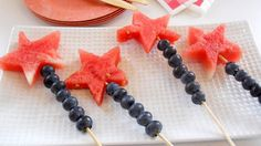 Firework Wands- super fun for summer parties! (Make your life easy and buy a star-shaped cookie cutter for the watermelon!)