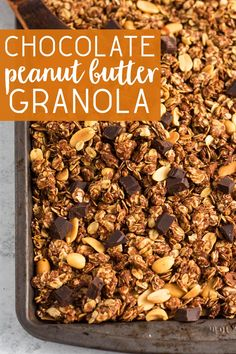 Homemade Chocolate Peanut Butter granola is a healthy breakfast or snack idea Easy meal prep recipe Oil-free if you use natural peanut butter vegan and gluten-free just make sure to find GF oats mealprep granola veganrecipes via karissasvegankitchen Peanut Butter Granola, Healthy Peanut Butter, Chocolate Peanut Butter, Homemade Chocolate, Natural Peanut Butter, Best Breakfast, Healthy Breakfast Recipes, Healthy Recipes, Breakfast Ideas
