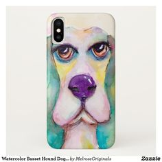 Watercolor Basset Hound Dog Artistic Cute Case-Mate iPhone Case Big Brown Eyes, Basset Hound Dog, Cute Cases, Whimsical Art, White Elephant Gifts, Cute Animals, Iphone Cases, Dogs, Blue Green