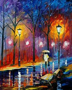 Van Eyck Alone Walk under the Street Lamp Colorful Landscape Palette Knife Oil Painting Prints on Canvas Abstract Wall Art Picture for Home Decorations(Inner Framed)