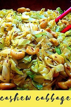 """Cashew Cabbage """"Love this! I also add my favorite Pad Thai sauce at the end and bean sprouts! Heat it up and have for lunch or dinner all week! Vegetable Recipes, Vegetarian Recipes, Cooking Recipes, Healthy Recipes, All Recipes, Bread Recipes, Holiday Recipes, Recipies, Healthy Foods"""