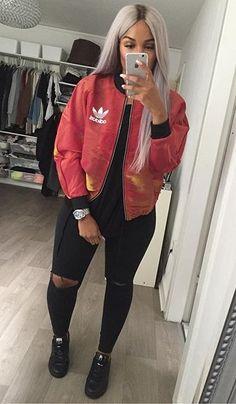 Cute bomber jacket outfit @KortenStEiN || Follow @filetlondon for more street wear #filetlondon