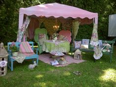 From photo shoot for April Cornell's Gazebo collection.  I could have a killer tea party there.