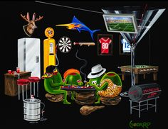 """Michael Godard """"Man Cave"""" 17.5 by 22 Limited Ed G Series 250"""