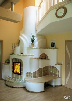 I like the idea of being able to climb your fireplace to the second floor. House Inspiration, Home Fireplace, House Design, Interior Design, House Interior, Adobe House, Earthship Home, Tiny House Interior, Home Decor