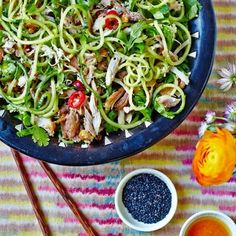 Hemsley + Hemsley 7 day eating plan - healthy sesame chicken and courgette noodles recipe. www.redonline.co.uk