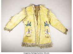 American Indian Art:War Shirts/Garments, A SIOUX PICTORIAL BEADED AND FRINGED HIDE JACKET. . c. 1890. ... Native American Clothing, Native American Crafts, Native American Artifacts, Native American Beadwork, American Indian Art, Native American Indians, Male Clothing, Native Americans, Beaded Jacket