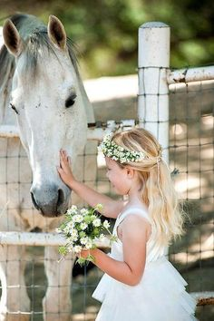 White grey horse with a pretty face and a little girl petting his face while holding a bouquet of wildflower daisies. A girl and her horse, no man can separate!