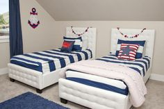 The Game on bedding is especially perfect for bunk bed bedding sets! Any kid will love the navy and white print pattern.