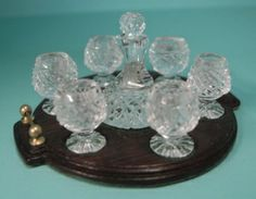 1/12th scale Dollhouse Miniature. Crystal Ships Decanter and 6 Brandy glasses by Jim Irish. Mahogany Tray by Michael Walton