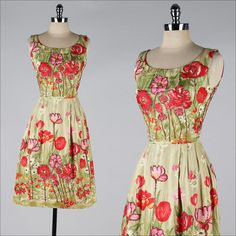 vintage 1960s dress . floral polished cotton by millstreetvintage, $155.00