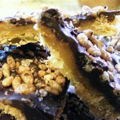 Saltine Toffee Cookies - Allrecipes.com My mom used to make a version of these. It may not sound good but boy oh boy!