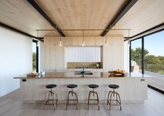 Inspired by the architecture of a century-old Life-Saving Station nearby, Bates Masi + Architects has infused local maritime history into the design of this residence in Amagansett, New York. The single family home was designed for a West Coast-based y. Küchen Design, House Design, Design Ideas, Beam Structure, Interior Architecture, Interior Design, Wooden Architecture, Minimal Architecture, Wooden Posts