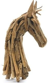 Go Home Ltd. Rustic Wood Horse Head - eclectic - artwork - by Arcadian Home