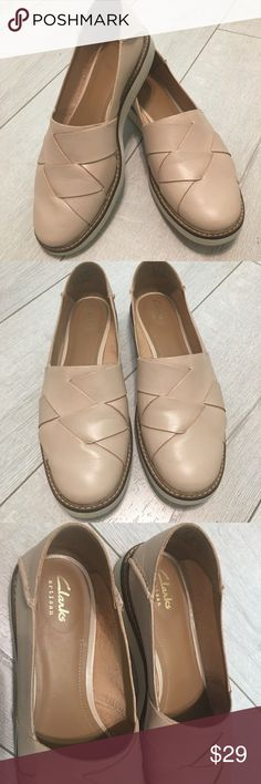Clarks Artisan Slip-on Flats Leather Slip-on style, woven braided upper, round toe, chunky sole Lightweight and flexible Excellent condition Clarks Shoes Flats & Loafers