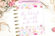 Happy Planner Cover She Believed She Could So by PrettyPlannerPlus