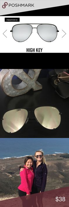 high key Quay sunglasses! Black and silver Perfect condition. Worn once!  quay Australia sunglasses, high key, quay desi!  No scratches, great condition! In original case! Just too big for my face! Quay Australia Accessories Sunglasses