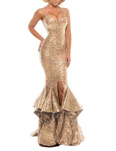 6e1caf65242 online shopping for Luccatown Women s Mermaid Spaghetti Sequins Ruffles  Split Long Prom Dress Evening Party Gowns from top store.