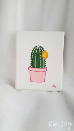This is a 4x5 handpainted cactus on canvas stretched around a wood frame. Hang it on your wall or prop it on your bookshelves like I do! Brighten your home with this lil cutie! Perfect for a bedroom, office, nursery, kitchen, etc. Each one is painted in my sweet little library home/art studio.