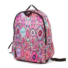 Pink and Purple Tribal Pattern Padded Backpack   Claire's So cute i want this
