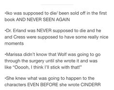 Marissa Meyer emailed tumblr user the-rampion ALTERNATE ENDINGS THAT COULD HAVE HAPPENED. THESE ARE OFFICIAL.