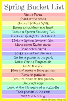 Bucket List For Kids and Families Spring Bucket List for Kids. Fun things to do with kids in spring. Learning and Exploring Through Play.Spring Bucket List for Kids. Fun things to do with kids in spring. Learning and Exploring Through Play. Spring Activities, Activities To Do, Indoor Activities, Kindergarten Activities, Toddler Activities, Summer Fun List, Summer Bucket, Spring Bucket Lists, Fun Bucket