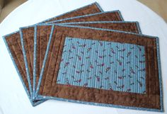 Quilted Placemats  Country blue and brown by RedNeedleQuilts, $69.00