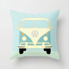 VW Bus auf Polka Dots Kissenbezug ohne Füllung
