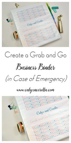 It seems overwhelming to prepare our home businesses for an emergency, so we're working together to prepare our home businesses for an emergency. Today, we're going to create a Grab and Go Business Binder in case we have to evacuate quickly.   Calyx and Corolla