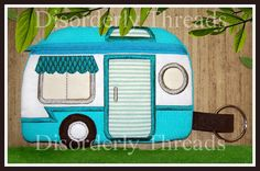 Retro Camper Zippered Bag!  **xxx vip pes jef hus exp dst Formats** ITH In The Hoop Zippered Bag Machine Embroidery File