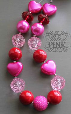 Valentine Pink Rose little girls chunky necklace by PalestPink, $30.00