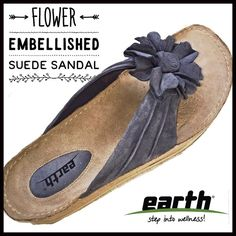 1b03c9e2fcc2 Flower Embellished Suede Sandal by Earth NWOT Rich suede fashions a flower  at the toe post
