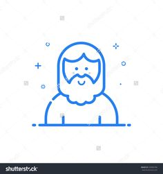 Vector Illustration Of Blue Icon In Flat Line Style. Linear Cute And Smiling Hipser Man With Beard. Graphic Design Concept Of Avatar Use In Web Project And Applications Outline Isolated Object. - 535895785 : Shutterstock