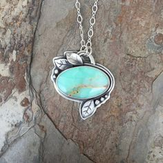 Green Opal and Fine Silver Necklace. Handmade by coldfeetjewelry