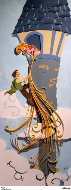 Tangled paper art - this is so neat!  I would love to try something like this.