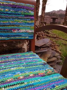 Chair covered with crocheted plarn (plastic bag yarn).