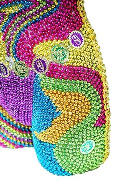 What to do with all those leftover beads? Close-Up #1 - Created by Jennifer Stewart @Toomey's Mardi Gras & Party Supplies http://www.toomeys-mardigras.com/