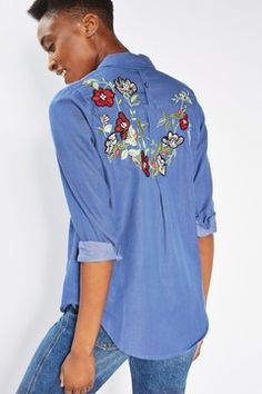 Vine Floral Embroidered Chambray Shirt - New In- Topshop Europe Long Shorts, Long Tops, Chambray, Topshop, Tunic Tops, Lace Up, Crop Tops, Hoodies, Floral
