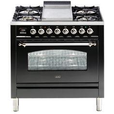 Ilve Nostalgie GAS oven with teppanyaki plate. Black Gas Stove, Freestanding Oven, Hamptons Kitchen, Butler Sink, Kitchen Time, Kitchen Oven, Kitchen Stuff, Teppanyaki, Gas Oven