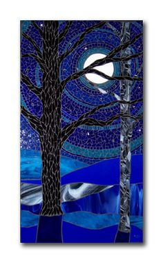 #mosaic #glass #art - Blue Moonlight by Barbara Keith