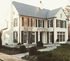 Beautifully proportioned white house with black shutters, grey roof, copper gutters. Future House, My House, Colonial, White Houses, House Goals, Style At Home, My Dream Home, Curb Appeal, Exterior Design