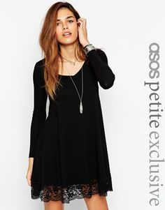 ASOS PETITE Exclusive Swing Dress with Lace Hem