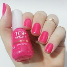 Striptease da Top Beauty. Unhas Rosas. Pink nails. Nail art. Nail design. Polishes. Polished. by @morganapzk