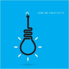 Turn on Creative light bulb concept.Business idea and education concept. vector art illustration