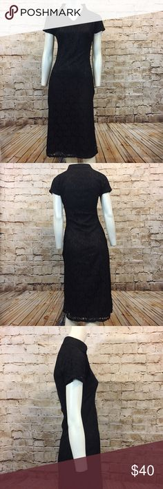 "Shabby Apple Black Lace Sheath Dress Women's Shabby Apple Dress Extra Small  Mandarin collar Sheath dress Black Hits below knee Concealed side zipper 100% Polyester                                     Hand Wash EXCELLENT USED CONDITION! LIKE NEW!     Bust: 34"" Waist: 26"" Hips: 35"" (Measurements taken with garment lying flat, across front and then doubled) Length: 46"" Shabby Apple Dresses Midi"