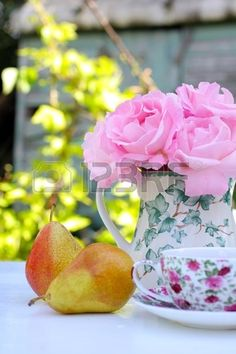 Morning in the garden with roses and pears Stock Photo