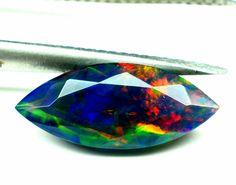 1,45 ct äthiopischer Opal facettierter schwarzer Opalschliff Marquise Fire...