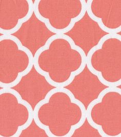 Color may look more pink, but matches the dresser perfectly! Only $5.59 a yard, a steal! If you decide on full length this would be the most economical way to do it.  It can also make an impact on the crib skirt.Keepsake Calico™ Cotton Fabric-Quatrefoil Coral