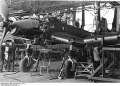 A Ju 87D during wing installation